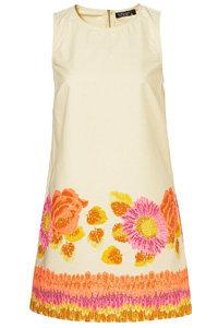 Topshop Cream Fluorescent Floral Border Shift Dress