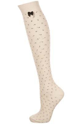 Topshop Cream Pinspot Knee High Socks