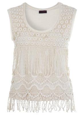 Miss Selfridge Cream Crochet Shell Top