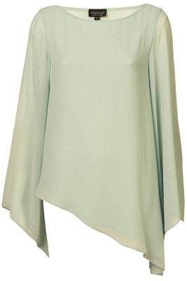 Topshop Green Asymmetric Bell Sleeve Blouse