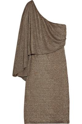 Halston Heritage Asymmetric Metallic Jersey Dress