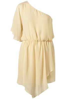 Topshop Lemon One Shoulder Grecian Chiffon Dress