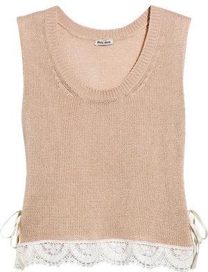 Miu Miu Lace-Trimmed Open-Knit Cotton Tank
