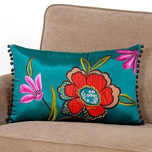 Green Floral Lumbar Pillow