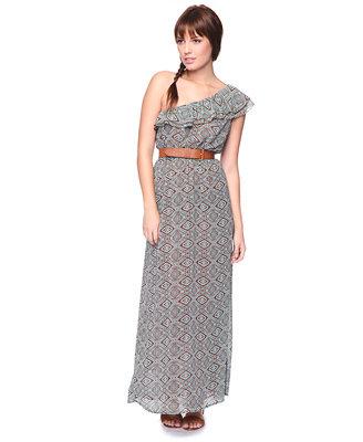 Tribal One-Shoulder Maxi Dress