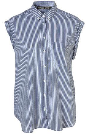 Topshop Blue Stripe Ruched Cap Sleeve Shirt
