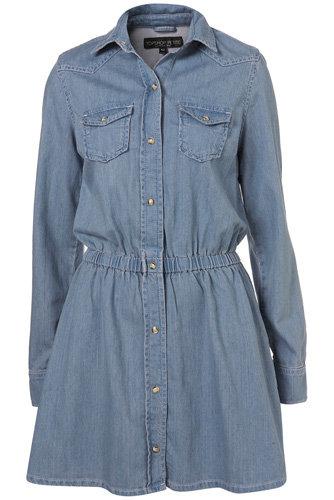 Topshop Petite Elastic Denim Shirt Dress