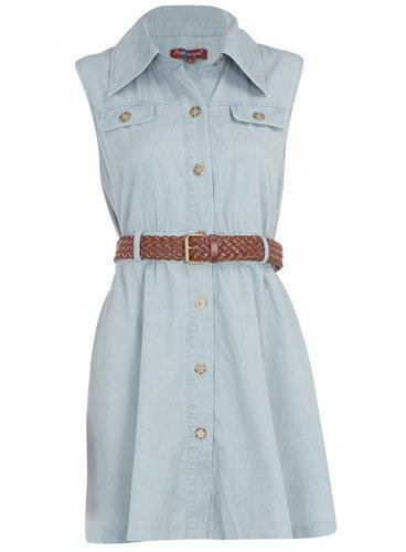 Dorothy Perkins Blue Denim Belted Dress