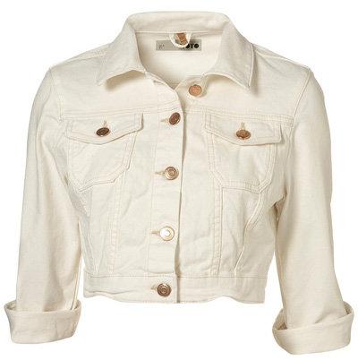 Moto White Denim Jacket