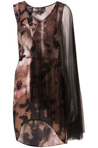 Topshop Black Angel Print Mesh Dress
