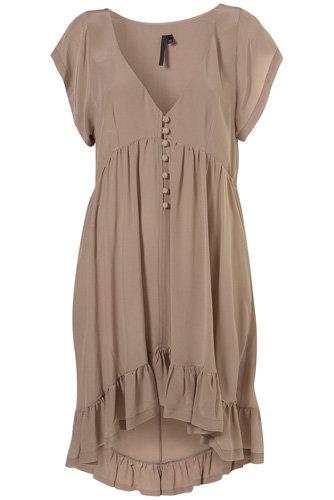 Topshop Grey Silk Frill Dress