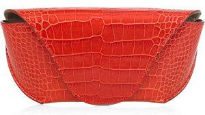Smythson Crocodile-Effect Leather Glasses Case