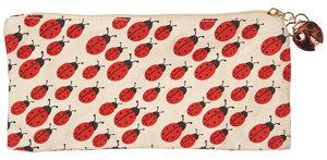 Cream Ladybug Print Canvas Case