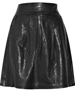 Vince Pleated Leather Skirt