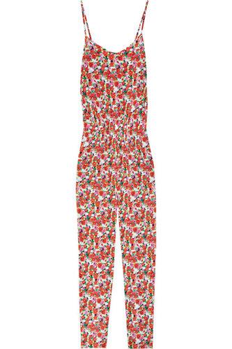 DKNY Floral Print Stretch-Silk Jumpsuit