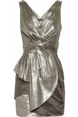 Alldressedup Metallic Linen-Blend Dress