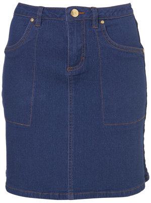Topshop Blue Denim a-Line Skirt