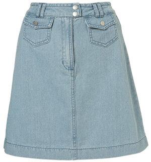 Topshop Denim Seventies High Waisted a-Line Skirt