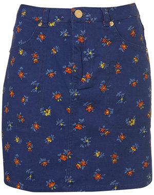 Topshop Blue Daisy Print Skirt