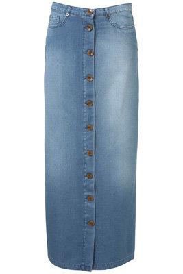 Topshop Denim Button down Maxi Skirt