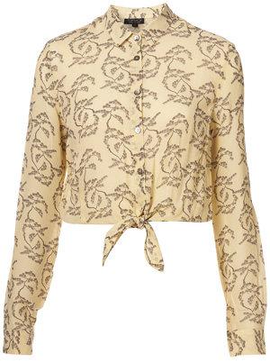 Topshop Yellow Bonsai Print Tie Front Shirt