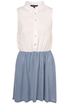 Topshop Petite White Sleeveless Shirt Dress