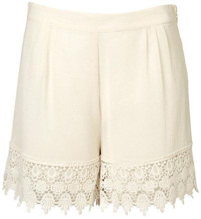 Topshop Premium White Lace Hem Shorts