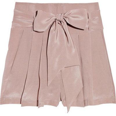 Emma Cook Belted Silk Crepe De Chine Shorts