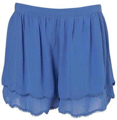 Topshop Blue Scallop Hem Shorts