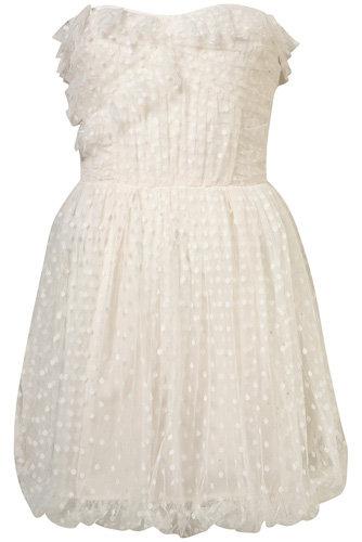 Topshop Spot Froth Mesh Bandeau Dress