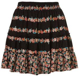 Black Floral Gypsy Skirt