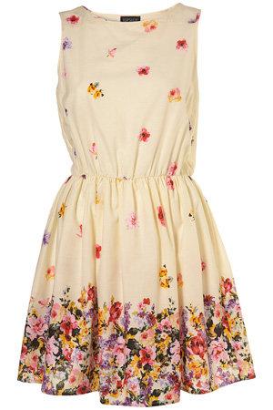 Topshop Cream Pansy Border Print Dress