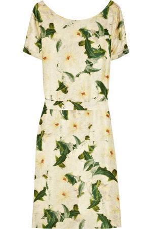 Erdem Anneli Floral Print Silk-Satin Dress