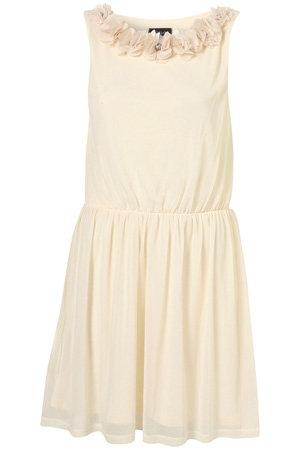 Topshop Cream Chiffon Flower Appliqué Neckline Dress