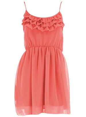 Dorothy Perkins Orange Frill Chiffon Dress