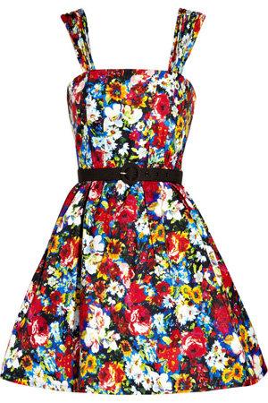 Alice + Olivia Full Skirted Floral Print Dress