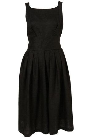 Topshop Black Linen Fifties Midi Sundress
