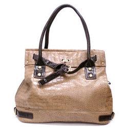 Khaki Brown Croc Slouchy Bucket Bag