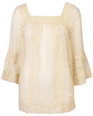 Topshop Buttermilk Lace Insert Bell Sleeve Blouse