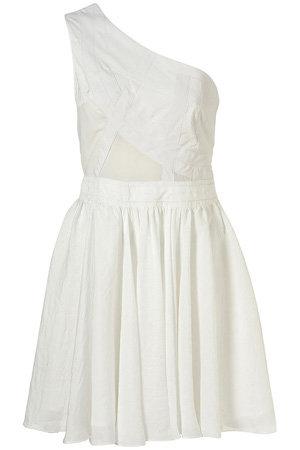 Topshop White One Shoulder Panel Dress