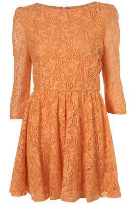 Topshop Orange Lace Flippy Dress
