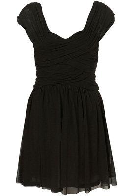 Topshop Black Ruched Front Mesh Dress