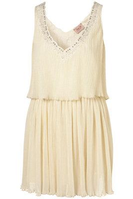 Dress up Topshop Cream Embellished Pleat Dress