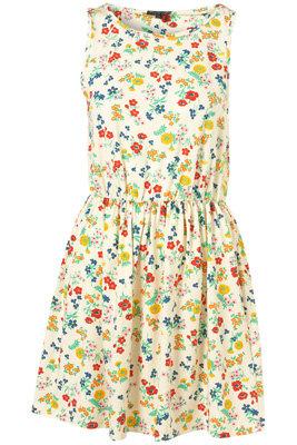 Topshop Cream Floral Meadow Printe Sleeveless Dress