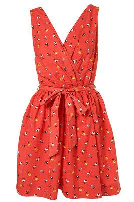 Topshop Red Flower Print Wrap Dress