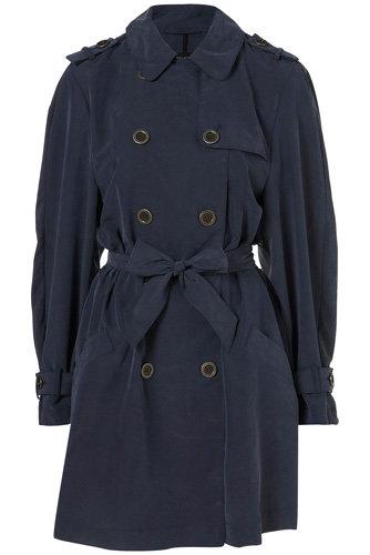 Topshop Midnight Blue Oversized Cupro Drape Trench Coat