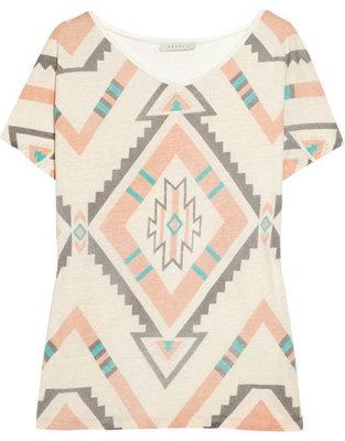Sandro Tek Printed Linen-Jersey T-Shirt