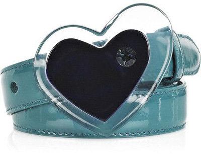 Miu Miu Heart-Embellished Patent-Leather Belt