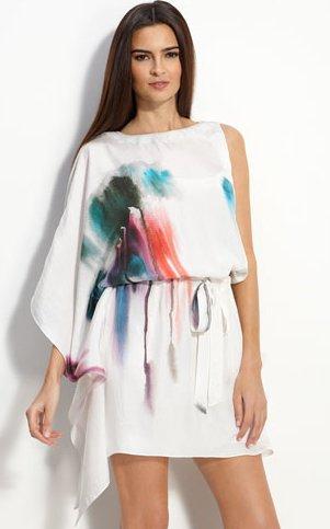 Nicole Miller One Sleeve Hammered Silk Dress