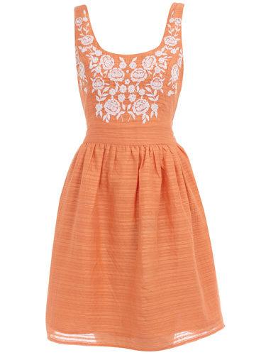 Dorothy Perkins Orange Embroidered Sundress